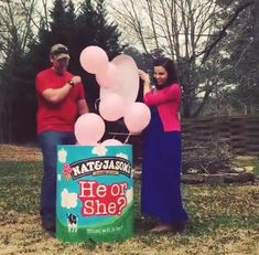 Ben and Jerry ice cream ballon gender reveal. Baby shower. It's a girl. (via Natalie Witten)