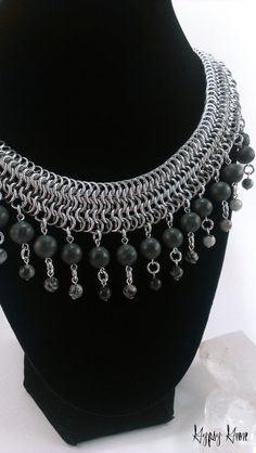 """Gorgeous Chainmaille Collar Necklace with Blackstone and Spiderweb Jasper. Necklace is approximately 18"""". Bright aluminum chainmaille in European 4-in-1 and European 6-in-1 weaves Genuine blackstone and jasper"""
