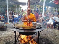 MONK JUST DEFIRED PHYSICS BY MEDITATES IN POT OF BOILING OIL OVER AN OPEN FLAME 1