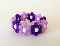 Purple Daisy Flower Kandi Bracelet  Ready to Wear  by DaisyDance, $6.99