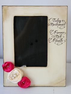 Rustic Vintage Wedding Bridesmaid Best Friend Picture Frame Keepsake 4x6 Gift Personalized Flowers Colors Diamonds Pearls. $41.00, via Etsy.