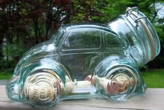 Glass VW Beetle Jar Made in Italy. My daughter gave me one of these for my birthday. It is too cute!!!!!
