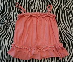 Old Navy Girls Pink Peach Ruffle Adjustable Strap Tube Top ~ Size L(10/12) ~ EUC #OldNavy
