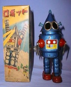 I found these amazing old tin robots on the Alphadrome Robot and Space Toy Database. These old robots are incredible! Related Posts: Swell Toys of the Space Age Famous Robots from Popular Culture Vintage Robots, Retro Robot, Vintage Toys, Antique Toys, Arte Robot, I Robot, Metal Toys, Tin Toys, Japanese Robot