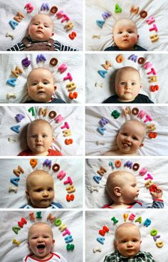 month by month baby photo with alphabet letters