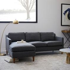 Lagoon Blue Sofa 3 Seater With Solid Wood Legs | Article Ceni ...