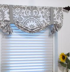 Made To Order Suzani Storm Grey Tie Up Curtain Valance Handmade In The USA On Etsy