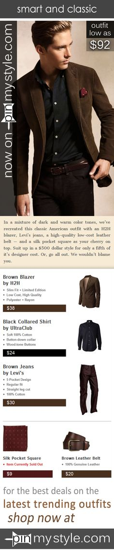 Now available on http://pinmystyle.com/mens-style/brown-blazer-and-jeans-look/ In a mixture of dark and warm color tones, we've recreated this classic American outfit with an H2H blazer, Levi's jeans, a high-quality low-cost leather belt and a silk pocket square as your cherry on top. Suit up in a $500 dollar brown blazer and jeans look for only a fifth of it's designer cost. #menstyle #style #fashion #brown #blazer #pocketsquare #dapper #suit #classic #american
