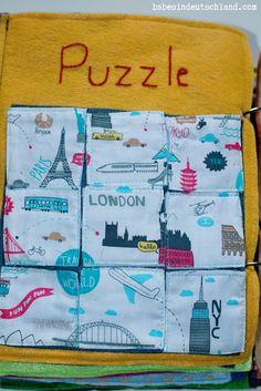 Babes in Deutschland, fabric puzzle quiet book page