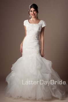 Modest Wedding Dress, Alexiane | LatterDayBride & Prom. Modest Mormon LDS Temple Dress
