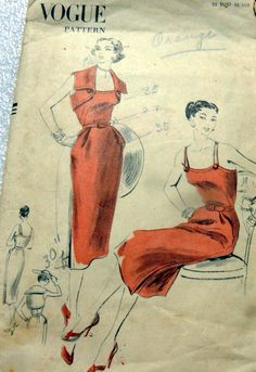 Lovely Vtg 1950s Dress Bolero Vogue Sewing Pattern 14 32 | eBay
