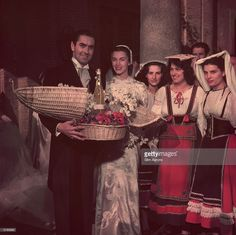 American actor Tyrone Power with his wife, the Mexican actress Linda Christian. The couple are accepting wedding gifts from girls wearing traditional north Italian dress. Get premium, high resolution news photos at Getty Images Tyrone Power, Mexican News, Christian Actors, Don Ameche, Steve Guttenberg, Shelley Winters, Power Photos, The Sun Also Rises, French Movies