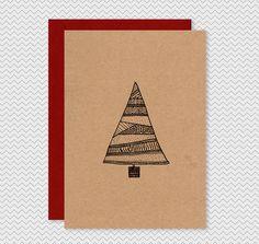 Kraft Christmas Cards - Hand drawn illustrated Christmas Tree - Kraft patterned ink pen funky xmas tree cards