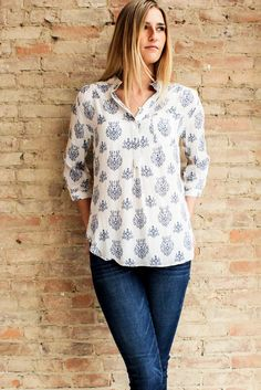 Ines Printed Blouse | Glamour and Glow #printedtop #blouse #buttonup #comfortable #chic #boutiquestyle