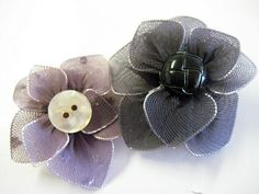 Homemade flower pins using old pantyhose and wire.  Awesome.