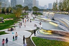 gradual stepped Public plaza of the Galaxy SoHo designed by Zaha Hadid Architects and EcoLand Design Group in Beijing Landscape Architecture Design, Landscape Plans, Urban Landscape, Architecture Diagrams, Landscape Architects, Architecture Portfolio, Landscape Materials, Landscape Designs, Classical Architecture