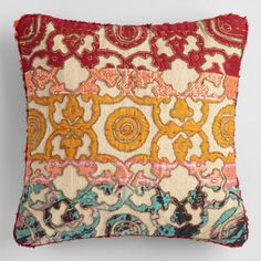 Crafted in India using intricate sari appliques, our exclusive throw pillow is a sumptuous accent with a comfortable woven texture.