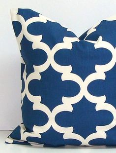 BLUE PILLOW.18x18. Pillow Cover.Printed Fabric