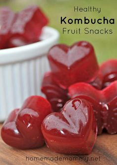 Make healthy kombucha fruit snacks!    1 ¼ cup kombucha (she uses ginger flavored), divided in half  ¾ cup frozen strawberries  1 medium beet, peeled and roughly chopped  2 Tbsp raw honey  6 Tbsp gelatin
