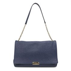 Burberry Blue Calfskin Mildenhall Shoulder Bag - modaselle