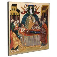 Icono 'La dormición de la Virgen', obra de Kiko Argüello, iniciador del Camino Neocatecumenal. Corona Mistérica del ábside de la Catedral de la Almudena (Madrid).