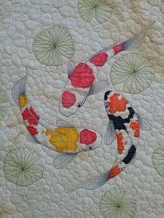 By Suzanne Wenzlick, I tea dyed the fabric then drew with my sewing machine the Koi fish, lily pads and pebbles. I colored in the fish with fabric medium. Japanese Quilt Patterns, Paper Pieced Quilt Patterns, Japanese Quilts, Fish Patterns, Applique Quilts, Fish Quilt Pattern, Diagram Chart, Finishing School, Quilt Festival