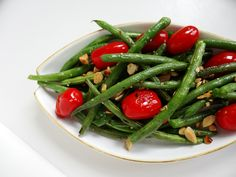 Green beans with blistered tomatoes and toasted almonds