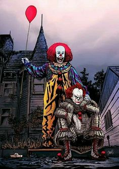 "Father & Son:IT & Pennywise. It ""the clown"" And Pennywise ""the clown "" Clown Horror, Funny Horror, Creepy Clown, Arte Horror, Horror Movie Characters, Horror Movies, Scary Wallpaper, Horror Artwork, Texas Chainsaw Massacre"