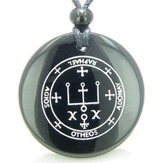 Sigil of the Archangel Raphael Magical Amulet Amulet Black Onyx Magic Gemstone Circle Spiritual Powers Pendant Necklace Comes with Detailed Information Card and cute Velour Pouch.Gemstone Circle Size: