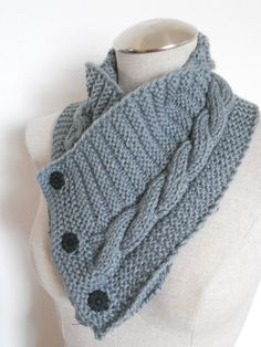 Knit Cowl in medium grey neckwarmer scarf with by needlepointnmore