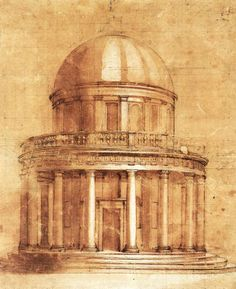 An exceptional architectural study by Donato Bramante, in preparation for building The Tempietto, a small church in the courtyard of San Pietro in Montorio in Rome, in 1502.