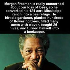 Morgan Freeman - helping the world as a BEEKEEPER!  Hats off to you, Morgan!