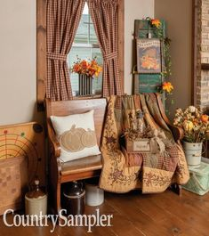 Decorate your home with rich autumn colors and heartwarming harvest displays Country Decor, Rustic Decor, Country Sampler Magazine, Decorating Your Home, Fall Decorating, Country Primitive, Farmhouse Design, Wingback Chair, Upholstery