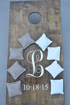 Rustic Wedding Cornhole Corn Hole Boards with Bags * Custom Made * Tailgate Toss * Baggo * Bean Bag Toss by BowtiqueBurlap on Etsy Cute for an engagement party Backyard Games, Backyard Bbq, Wedding Backyard, Lawn Games, Outdoor Games, Romantic Backyard, Backyard Ideas, Diy Wedding Games, Wedding Ideas