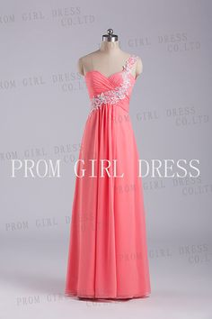 Aline OneShoulder  Floorlength Chiffon Prom Dress by promgirldress, $98.00