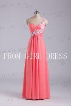 Aline OneShoulder  Floorlength Chiffon Prom Dress by promgirldress, $98.00