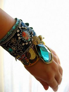 Gypsy Jangle bracelet by AllThingsPretty, via Flickr - for me, minus the giant blue jewel