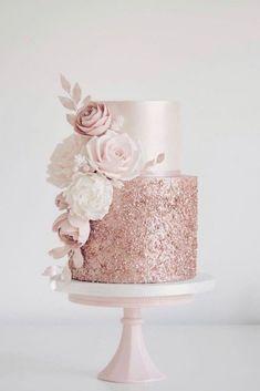 Wedding Cake Roses, Sparkly Wedding Cakes, Pretty Wedding Cakes, Gold Wedding Colors, Wedding Cakes With Cupcakes, Elegant Wedding Cakes, Wedding Cake Designs, Rustic Wedding, Wedding Rings