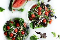 Summer Watermelon Salad with Basil, Goat Cheese and Balsamic Vinaigrette (healthy vegetarian recipe) by www.droolworthydaily.com