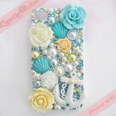 Beachy Nautical Theme Deco iPhone 4/4S Case | $45.00 SHOP: www.etsy.com/shop/kawaiixcoutureHandmade decoden phone cases, jewelry, & accessories ♡