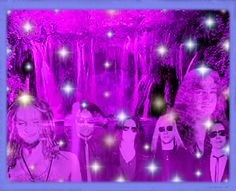 All 6 AIC boyz at the sparkly fuschia waterfall with other spirit friends also along!