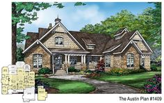 NEW plan! The Austin - 1409. This plan features a sprawling master suite, open kitchen, single dining space, a library, e-space, and large utility room. http://www.dongardner.com/plan_details.aspx?pid=4717. #New #Design #Craftsman