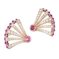 Sumerian punky pink sapphire points & diamond earrings