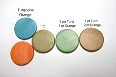 Premo! Sculpey Turquoise meets Orange to create a surprising yellow ochre