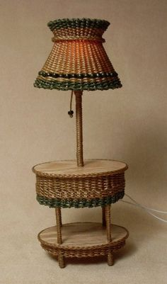 Miniature wicker furniture, lamp really works!