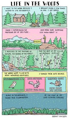 "With tech's growing presence in our daily lives, it's becoming more and more difficult to ""get away from it all."" SEE ALSO: More Comics on Mashable In this comic, Grant Snider of Incidental Comics illustrates how a member of the connected generation might ""experience"" nature's wonders. Know anyon"