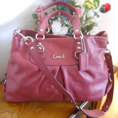 Coach Ashley Ginger Beet Leather Crossbody Carryall HandBag 15513 NWT