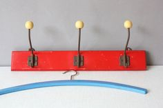 Red coat rack shabby wooden 3 ball hooks wall by wohnraumformer