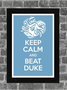 Keep Calm North Carolina Tarheels NCAA Print Art by PortlandInkery