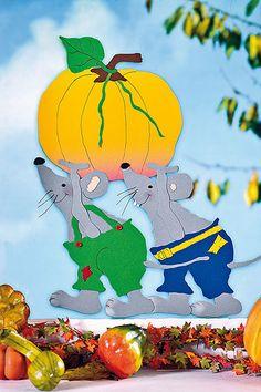 Fesnterbild: Mäuse mit Kürbis